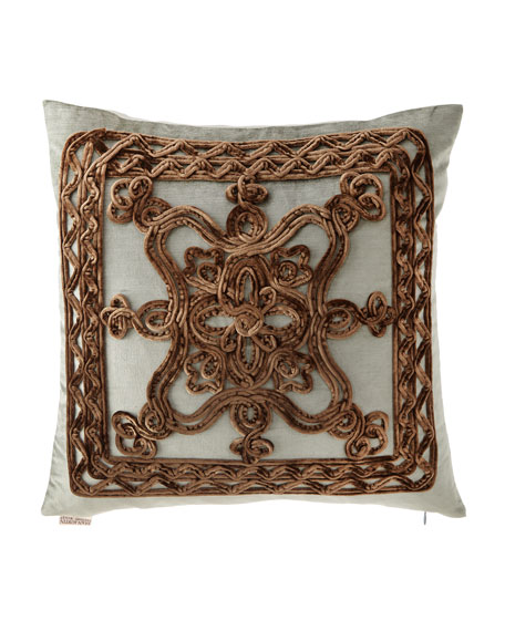 "Brompton Court Passementerie Velvet Pillow, 19""Sq."