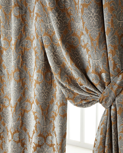 Two 50W x 96L Bella Damask Curtains