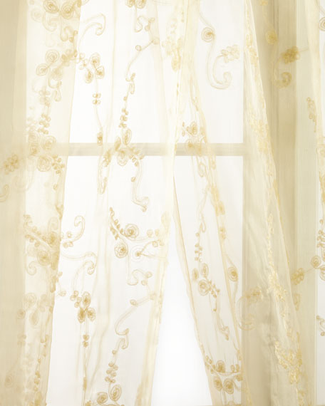 "Each Golden Crystal Palace Organza Sheer Curtain, 120""L"