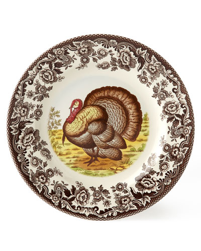 Woodland Turkey Salad Plates  Set of 4