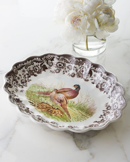 "Woodland Fluted Pheasant Platter, 14.5"" x 15"""