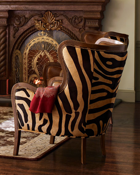 Chocolate Zebra Wing Chair