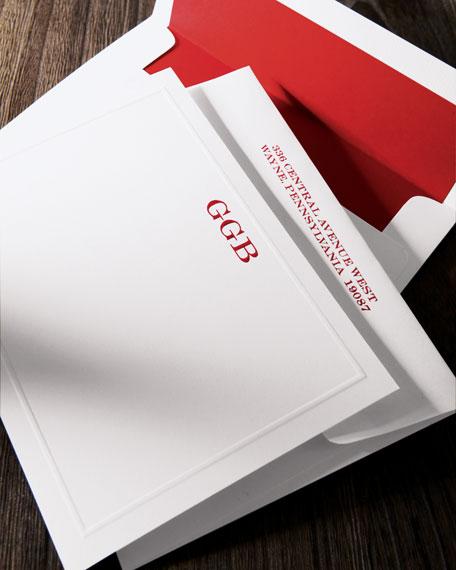 25 Elegant-Border Correspondence Cards with Personalized Envelopes