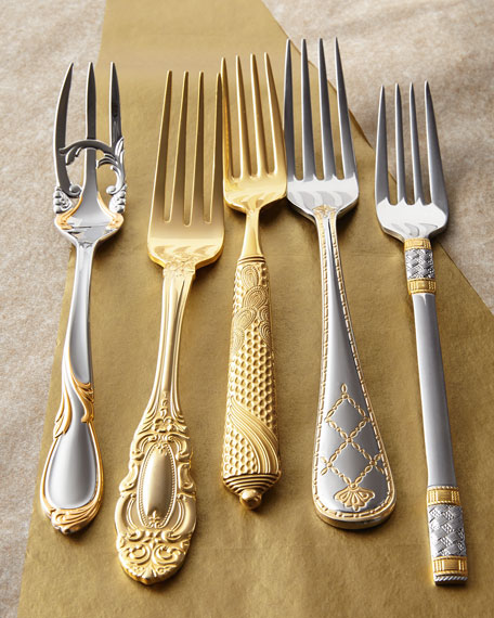 5-Piece Byzantine Gold-Plated Flatware Place Setting & Yamazaki Tableware 20-Piece Byzantine Gold-Plated Flatware Service