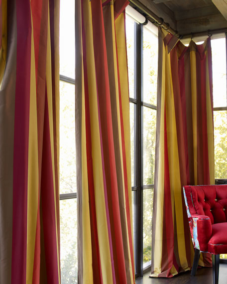 "Each Odessa Striped Curtain, 108""L"