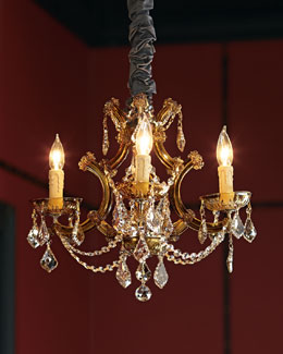 Golden Teak Four-Light Chandelier