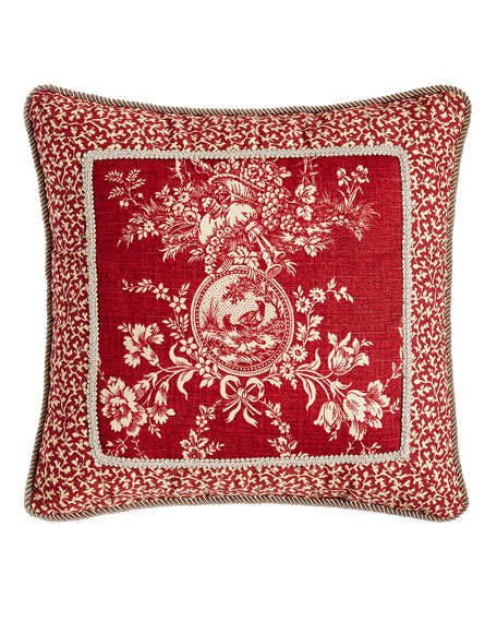 "French Country Pillow w/ Toile Center, 19""Sq."