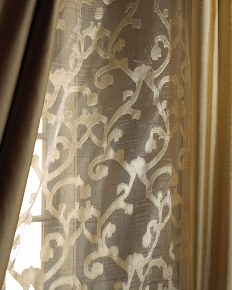 "Each 52""W x 108""L Venetian Scroll Sheer"
