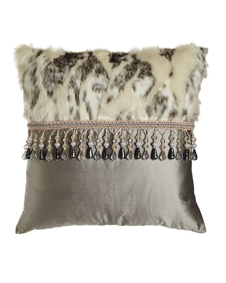 "Penthouse Suite Faux-Fur & Silk Pillow, 20""Sq."