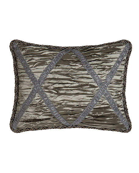 "Penthouse Suite Shirred Silk Boudoir Pillow with Crisscross Design, 12"" x 16"""