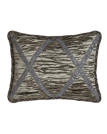 Penthouse Suite Shirred Silk Boudoir Pillow with Crisscross