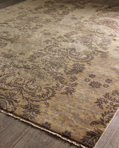 Mocca Damask Flatweave Rug, 4' x 6'