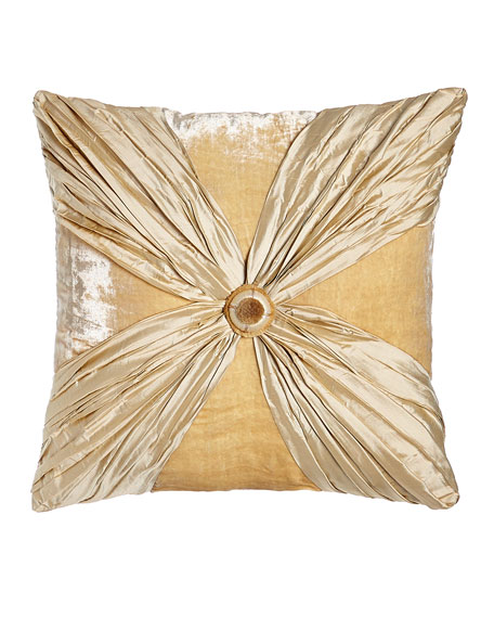 "Neutral Modern Crushed Silk/Velvet Pillow with Rosette, 20""Sq."