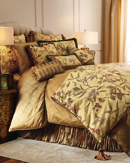 "Chirping Bird Pillow with Tassel Fringe, 22""Sq."