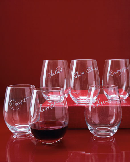 "Six ""Cheers"" Stemless Wine Glasses"