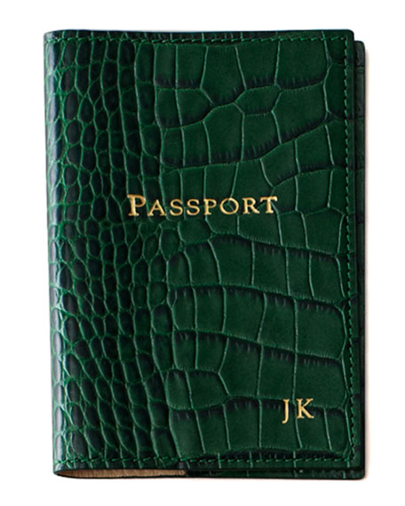 Crocodile-Embossed Leather Passport Cover, Personalized