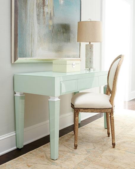 Light Blue Translucent Glass Desk