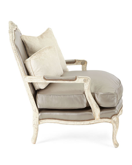 Gentil Silver Leather Bergere Chair