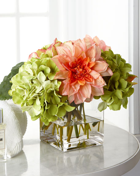 Pale Pink & Green Faux-Floral Arrangement