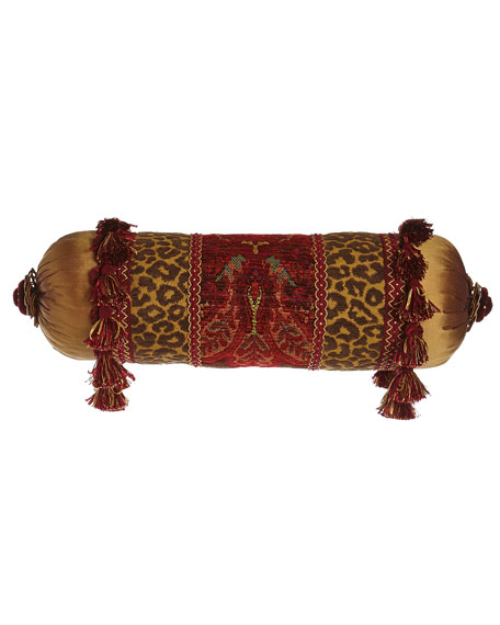 "Bohemian Rhapsody Neck Roll Pillow with Golden Silk Ends, 7"" x 20"""