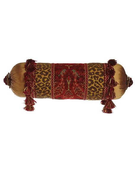 Bohemian Rhapsody Neck Roll Pillow with Golden Silk