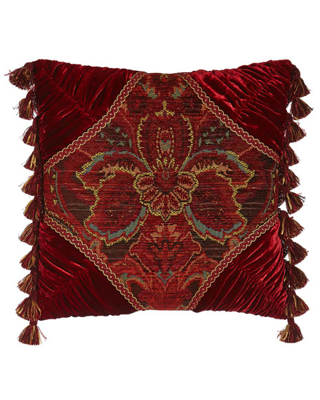 "Bohemian Rhapsody 20""Sq. Medallion Pillow with Ruched Corners"
