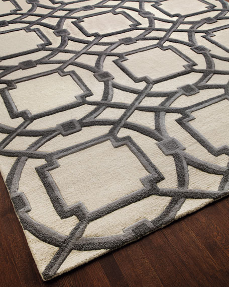 Gray Abstract Rug, 5' x 8'