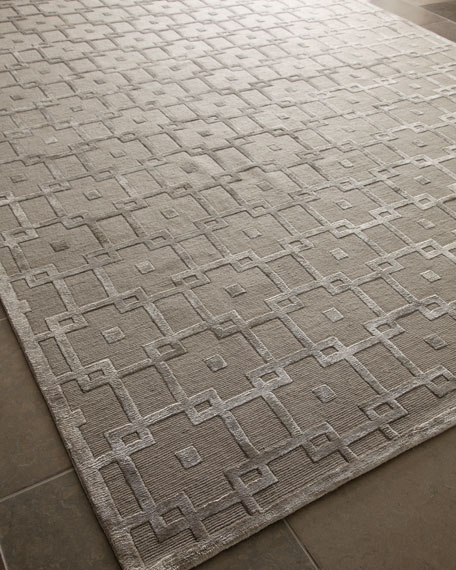 Exquisite Rugs Silver Blocks Rug, 4' x 6'