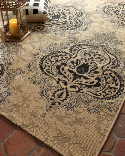 Outdoor Damask Rug  6'7 x 9'6