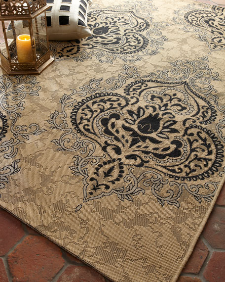 "Outdoor Damask Rug, 6'7"" x 9'6"""