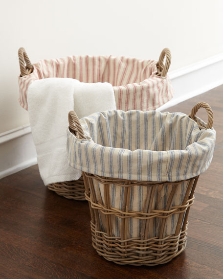 Small Laundry Basket with Ticking-Stripe Liner