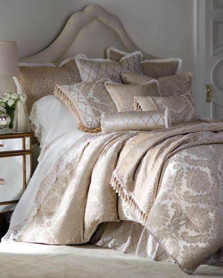 Darby Diamond-Pattern Neck Roll Pillow