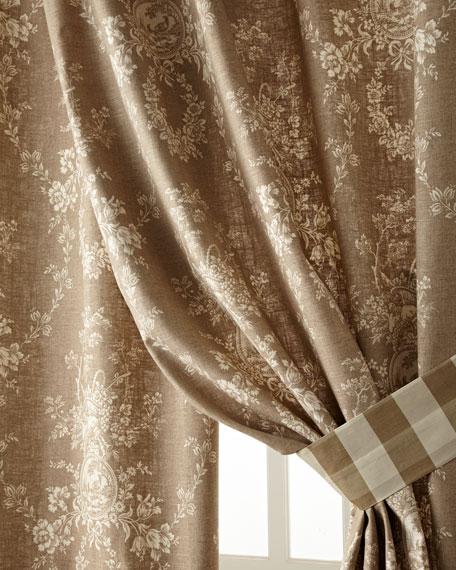 "Two 52""W x 96""L Country House Toile Curtains"