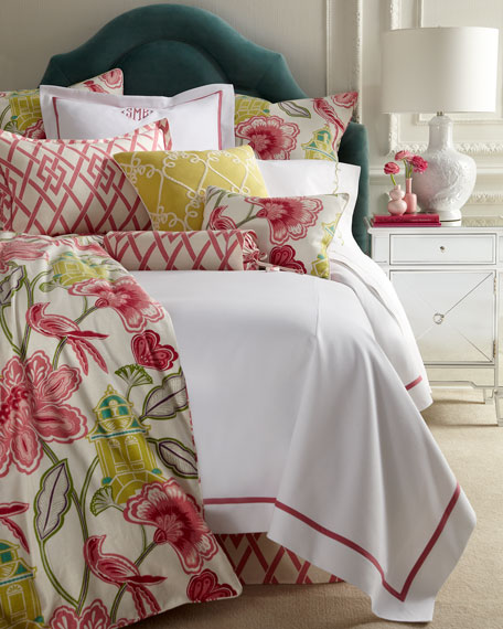 Twin Garden Gate Coverlet with Pink Trim