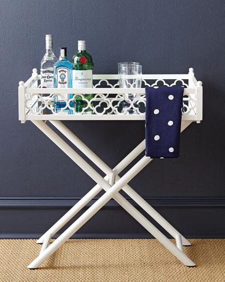 White Fretwork Tray Table
