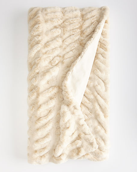 Fabulous Furs Ivory Faux-Mink Throw