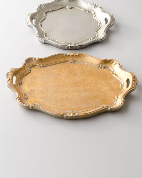 Golden Oval Handled Charger Plate