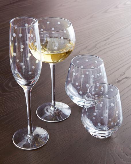 """Four """"Larabee Dot"""" Stemless White Wine Glasses"""