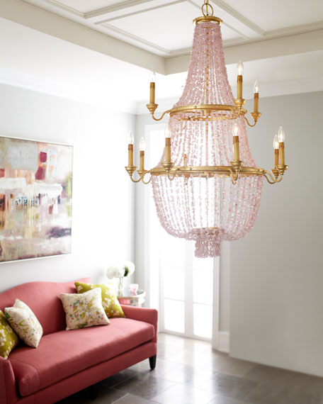 """Loulou"" Pink Stone Chandelier"