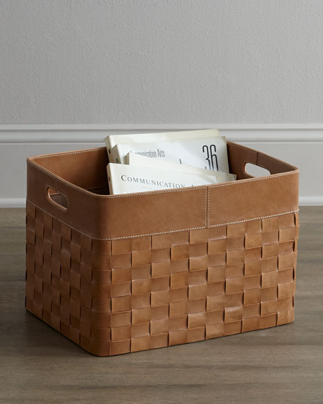 Woven-Leather Basket