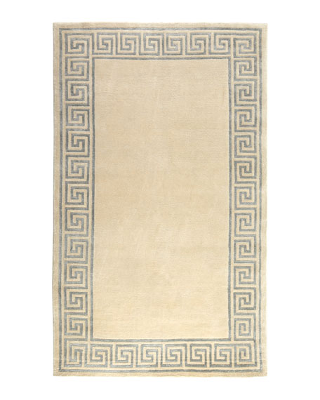 Greek-Key Border Rug, 4' x 6'