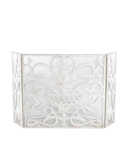 White Urn Fireplace Screen