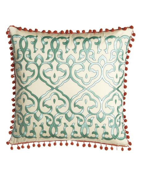 """""""Leena"""" Pillow w/ Gulf Blue Embroidery & Coral Pom Pom Trim, 18""""Sq."""