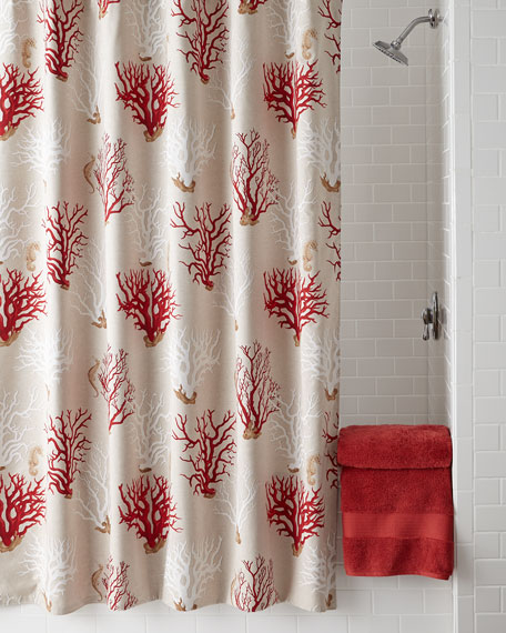 """Red Coral"" Shower Curtain"
