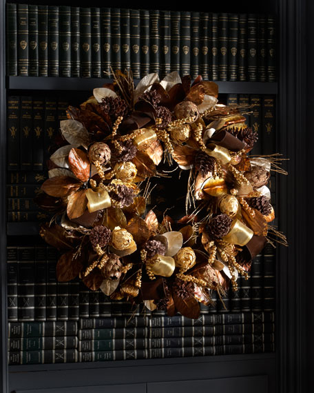 "Chocolate and Gold Christmas Wreath, 28""Dia."