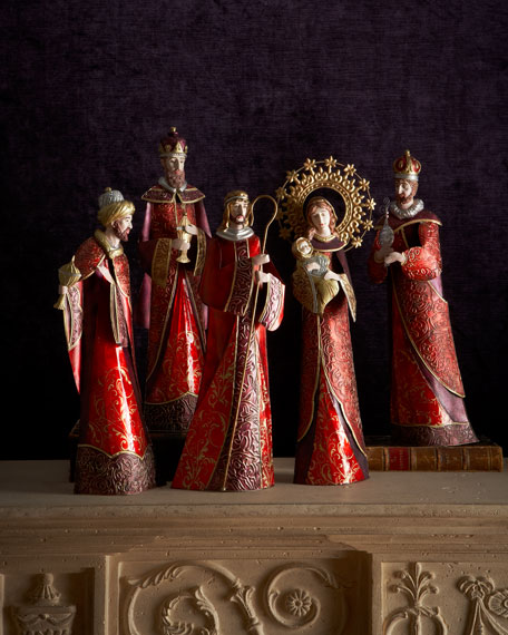 Five-Piece Burgundy Nativity