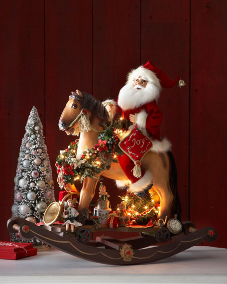 Karen Didion Originals Santa On Lighted Rocking Horse