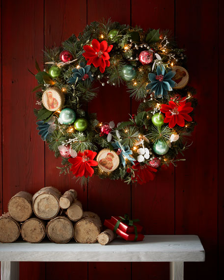 "28"" Lighted Vintage-Style Wreath"