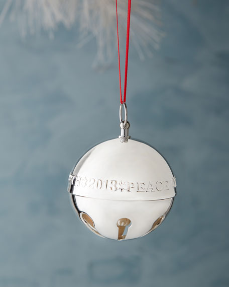 2013 Silver Sleigh Bell Christmas Ornament