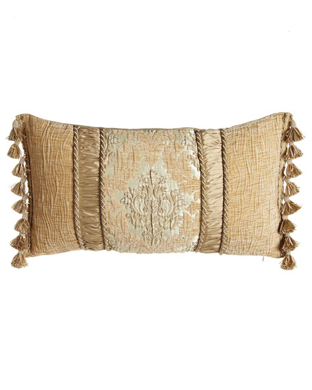 """Florentine Pillow with Ruched Silk Insets, 15"""" x 26"""""""